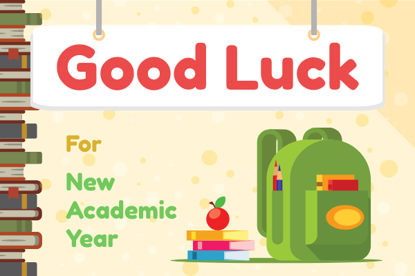 Greeting Card template: Good Luck For New Academic Year Greeting Card (Created by InfoART's Greeting Card maker)