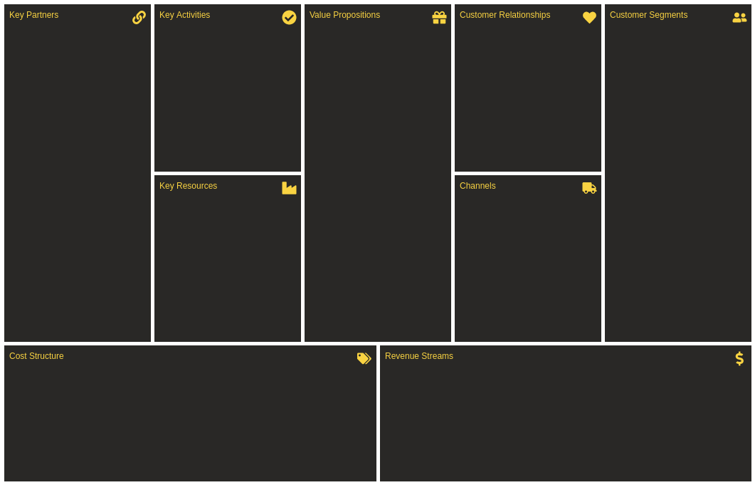 Business Model Canvas template: Light (Created by Diagrams's Business Model Canvas maker)