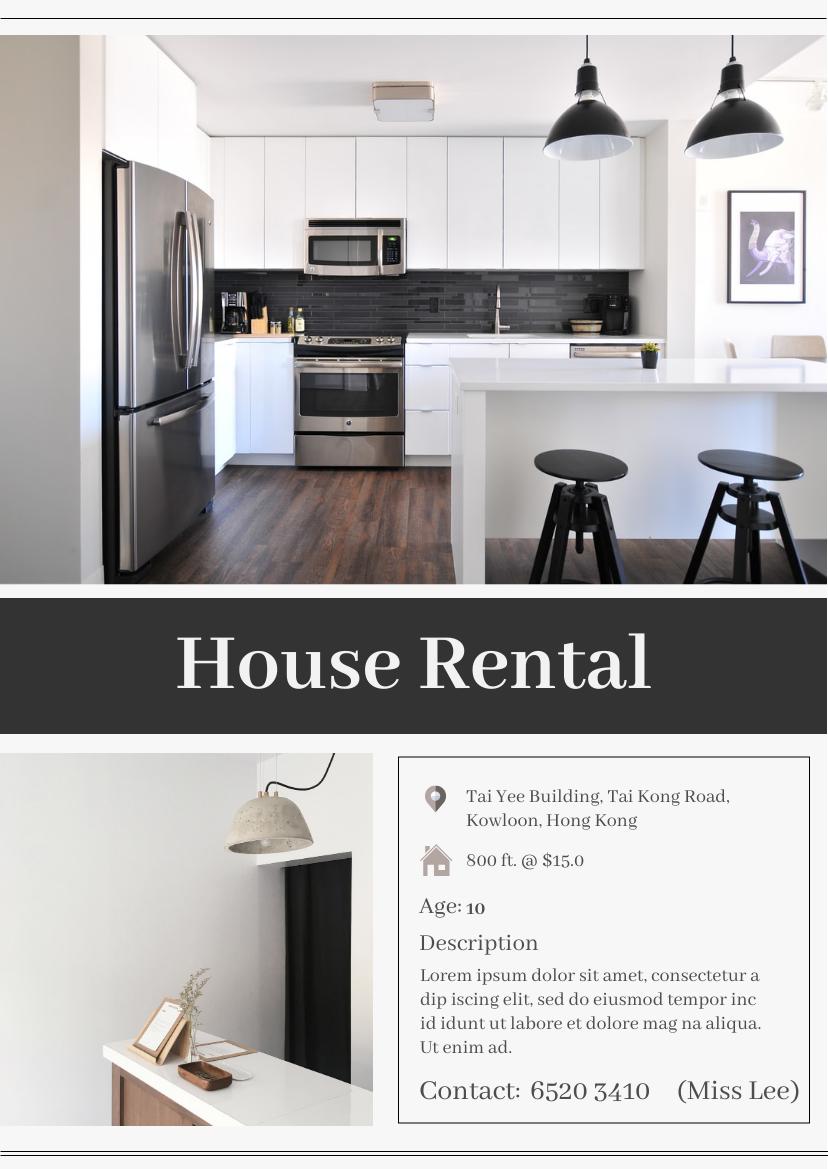 Flyer template: New House Rental Flyer (Created by InfoART's Flyer maker)