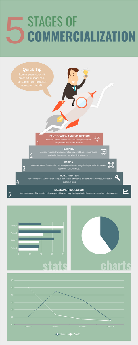 Infographic template: 5 Stages of Commercialization Infographic (Created by InfoART's Infographic maker)