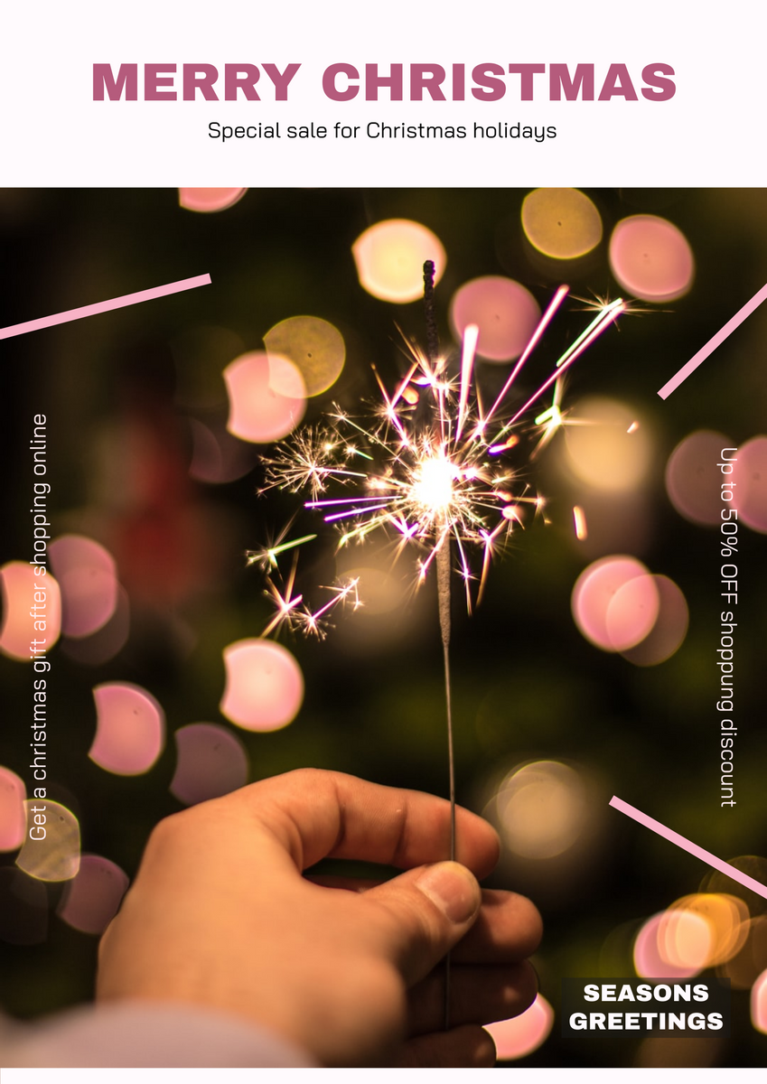 Poster template: Pink Minimal Firework Christmas Sale Poster (Created by InfoART's Poster maker)