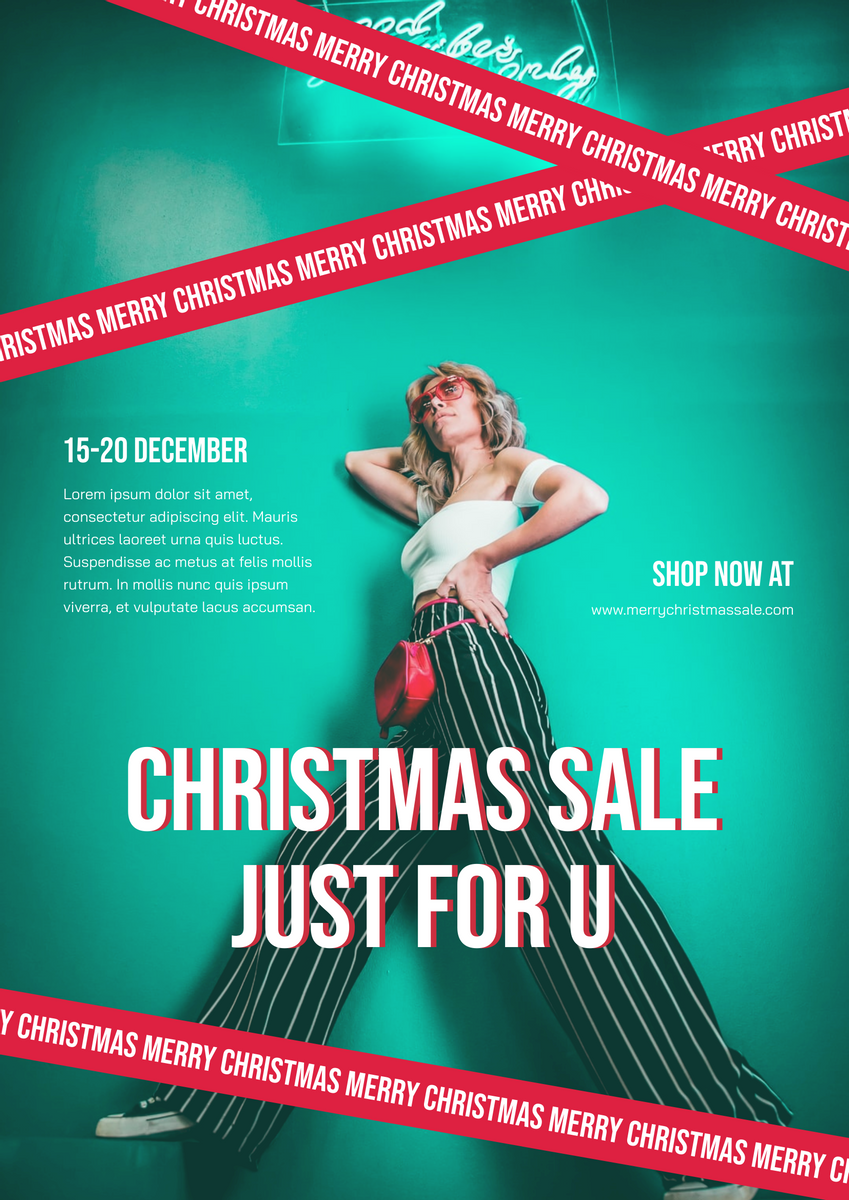 Poster template: Bold Green And Red Christmas Sale For You Poster (Created by InfoART's Poster maker)