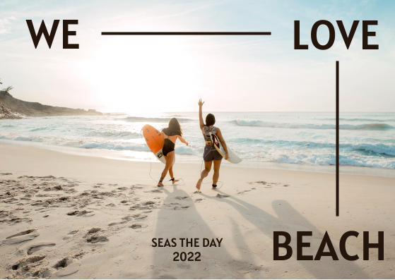 Post Card template: We Love Beach Postcard (Created by InfoART's Post Card marker)