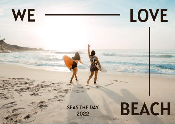 Postcard template: We Love Beach Postcard (Created by InfoART's Postcard maker)