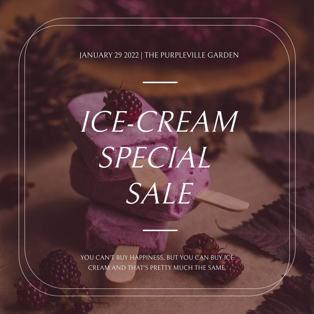 Instagram Post template: Purple Ice Cream Photo Dessert Sale Instagram Post (Created by InfoART's Instagram Post maker)