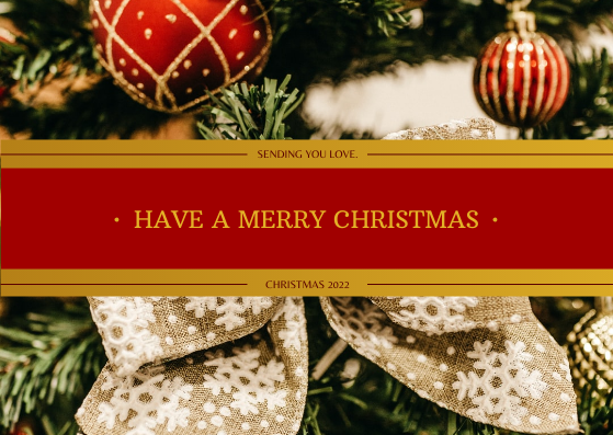 Postcard template: Gold And Red Happy Christmas Holidays Postcard (Created by InfoART's Postcard maker)
