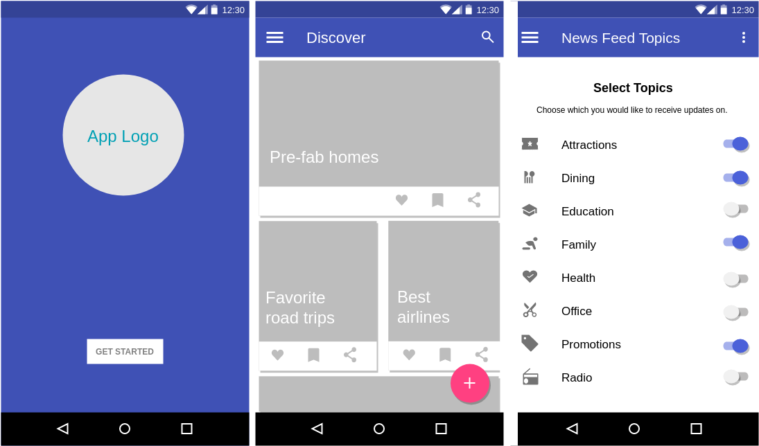 Material Design Wireframe template: News Feed App (Created by Diagrams's Material Design Wireframe maker)