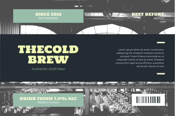 Label template: France Draft Beer Drink Label (Created by InfoART's Label maker)