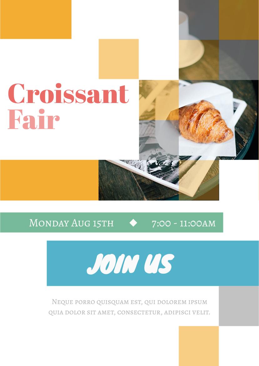 Flyer template: Croissant Fair (Created by InfoART's Flyer maker)