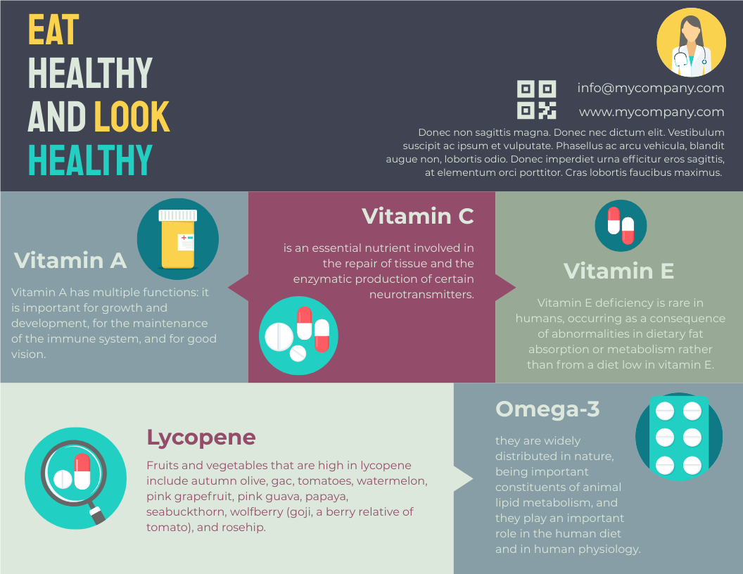 Infographic template: Eat Healthy And Look Healthy Infographic (Created by InfoART's Infographic maker)
