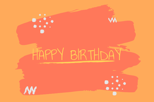 Greeting Card template: Orange Birthday Card (Created by InfoART's Greeting Card maker)