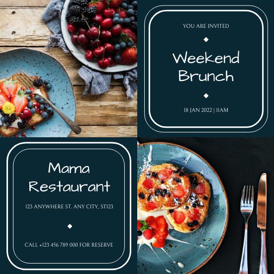 Invitation template: Blue Photo Grid Brunch Restaurant Invitation (Created by InfoART's Invitation maker)