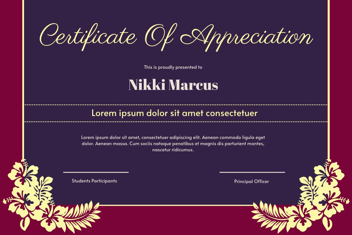 Vintage siren Certificate