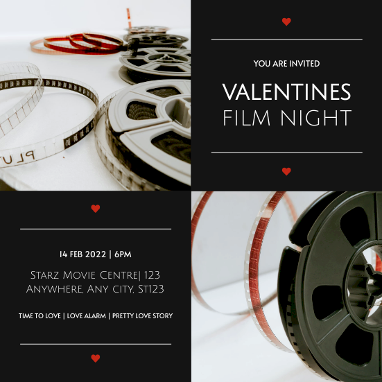 Invitation template: Black Photo Grids Valentines Day Movie Night Invitation (Created by InfoART's Invitation maker)