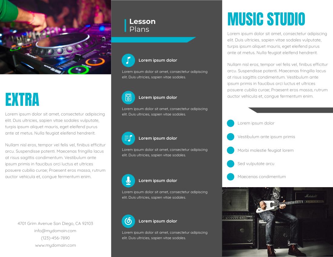 Brochure template: Music Studio Brochure (Created by InfoART's Brochure maker)