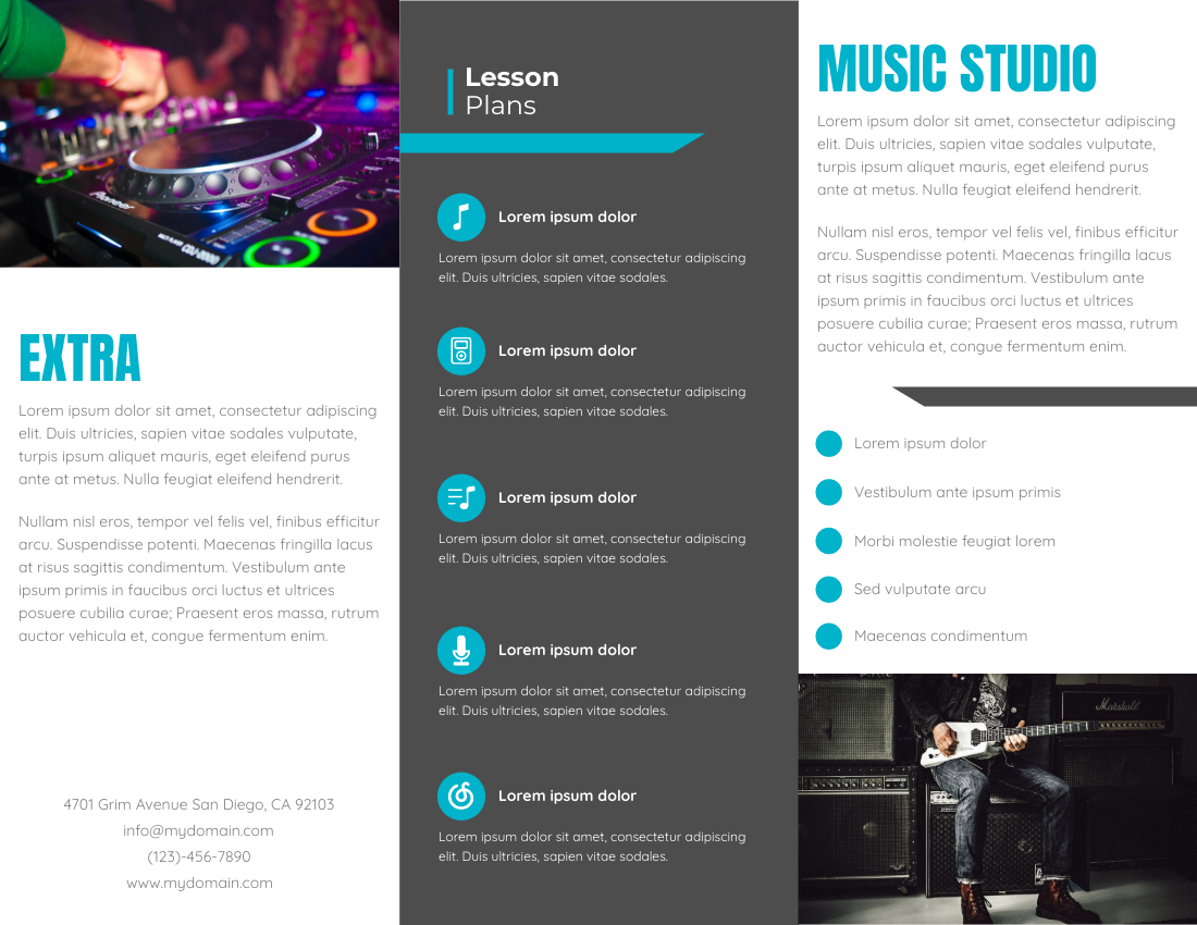 Brochure template: Music Studio (Created by InfoART's Brochure marker)