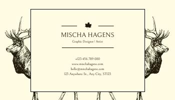 Business Card template: Brown Yellow Deer Silhouette Business Card (Created by InfoART's Business Card maker)