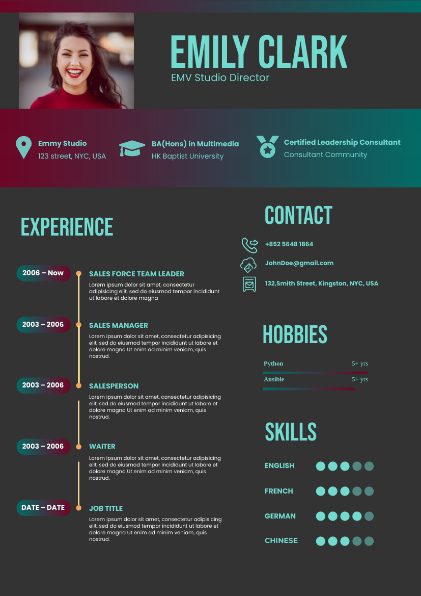 Resume template: Scarlet Mint Resume (Created by InfoART's Resume maker)
