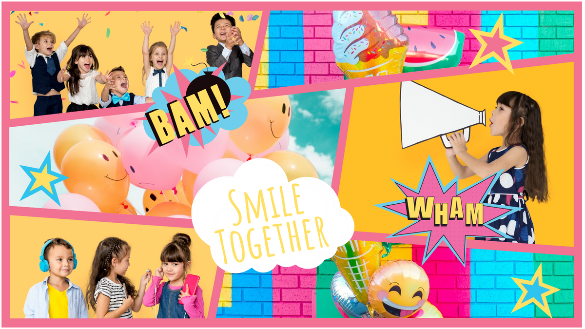 Comic Strip template: Colorful Child  Smile Comic Strip (Created by Collage's Comic Strip maker)