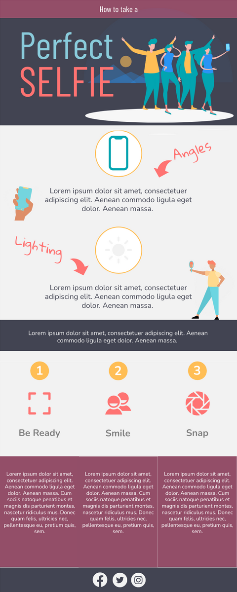 Infographic template: How to Take a Good Selfie Infographic (Created by InfoART's Infographic maker)