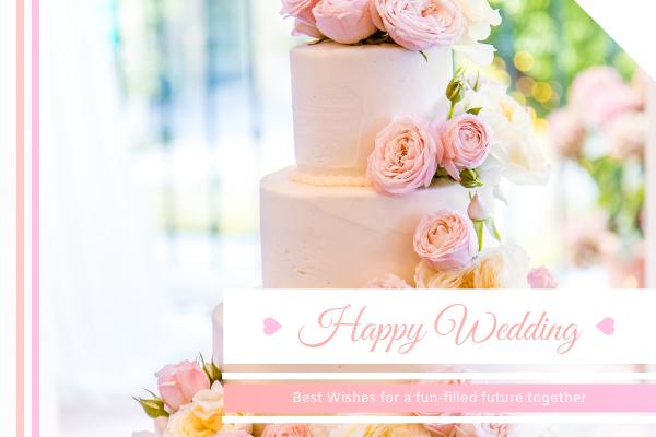 Greeting Card template: Happy Wedding Cake Greeting Card (Created by InfoART's Greeting Card maker)