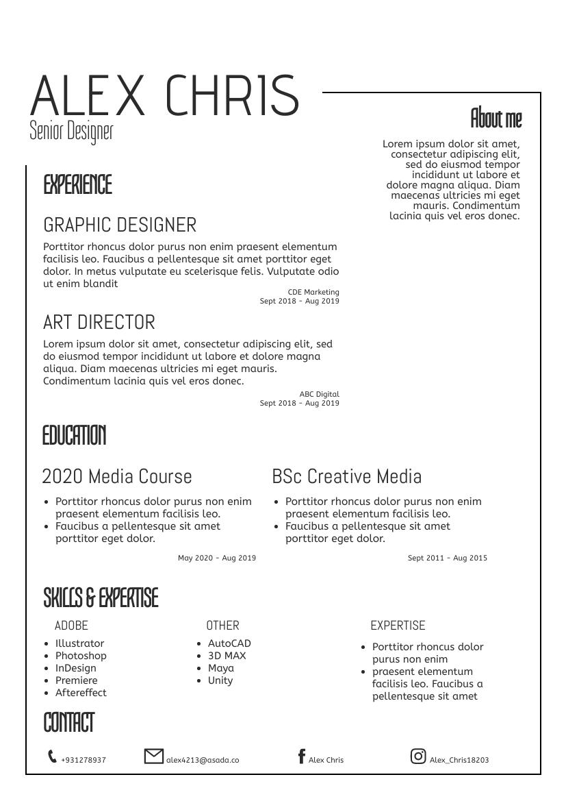 Resume template: Simple02 Resume (Created by InfoART's Resume maker)