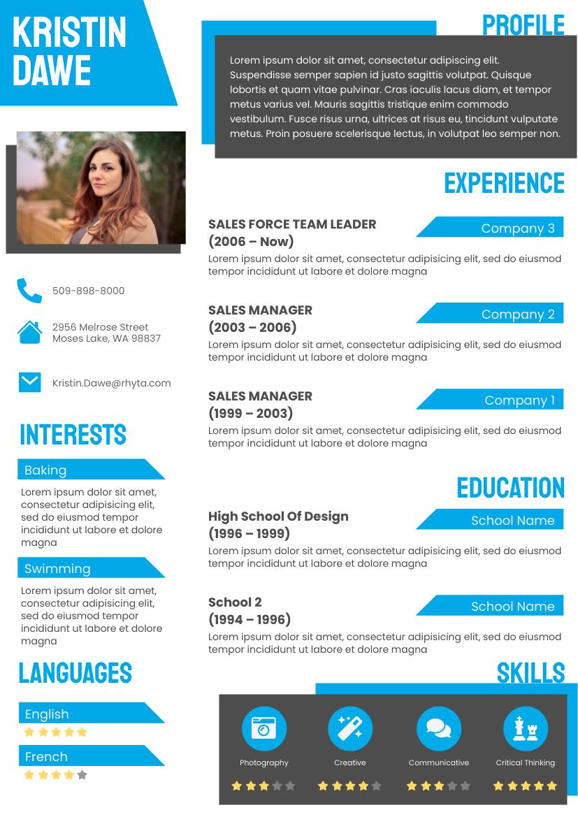 Resume template: Blue Resume (Created by InfoART's Resume maker)