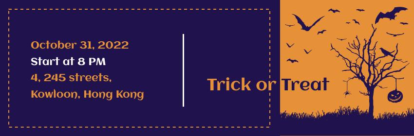 Ticket template: Ticket for Orange & Purple Halloween Party (Created by InfoART's Ticket maker)