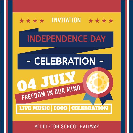 Invitation template: School Independence Day Celebration Invitation (Created by InfoART's Invitation maker)