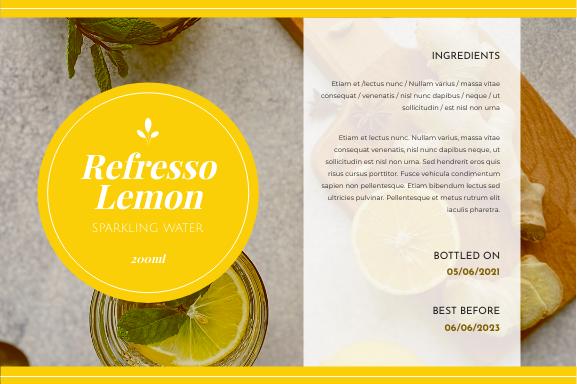 Label template: Lemon Sparkling Water Bottle Label (Created by InfoART's Label maker)