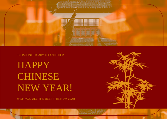 Postcard template: Red Bamboo Graphic Lunar New Year Postcard (Created by InfoART's Postcard maker)