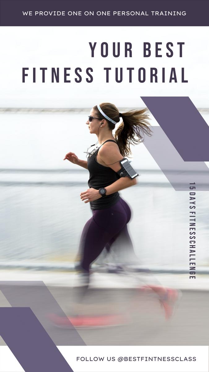 Instagram Story template: Purple Fitness Photo Fitness Class Promotion Instagram Story (Created by InfoART's Instagram Story maker)
