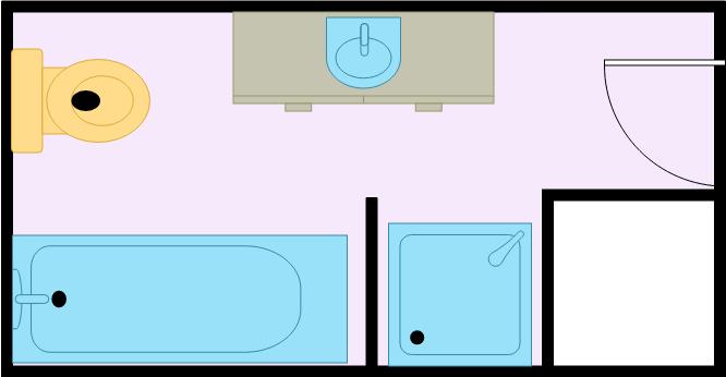 Bathroom Floor Plan template: Small Narrowed Bathroom (Created by Diagrams's Bathroom Floor Plan maker)