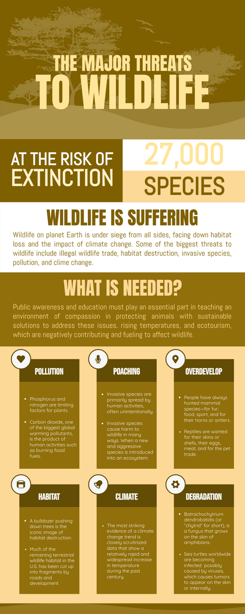 Infographic template: 6 Biggest Threats To Wildlife Infographic (Created by InfoART's Infographic maker)