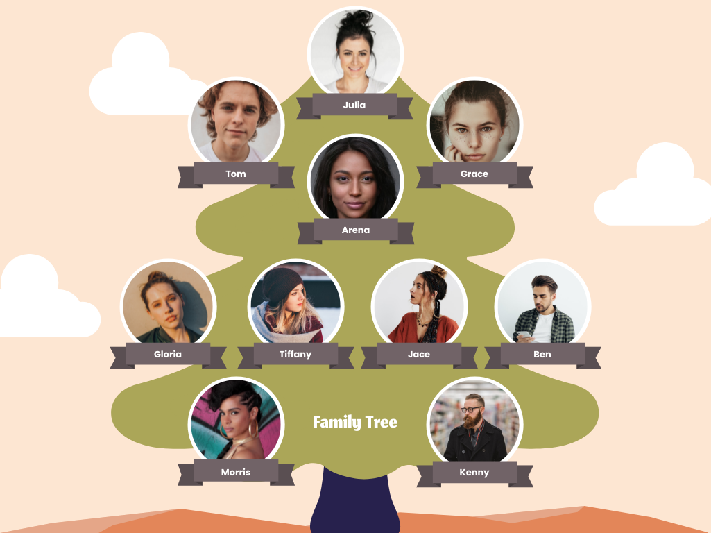 Family Tree template: Tree And Sky Family Tree (Created by Collage's Family Tree maker)
