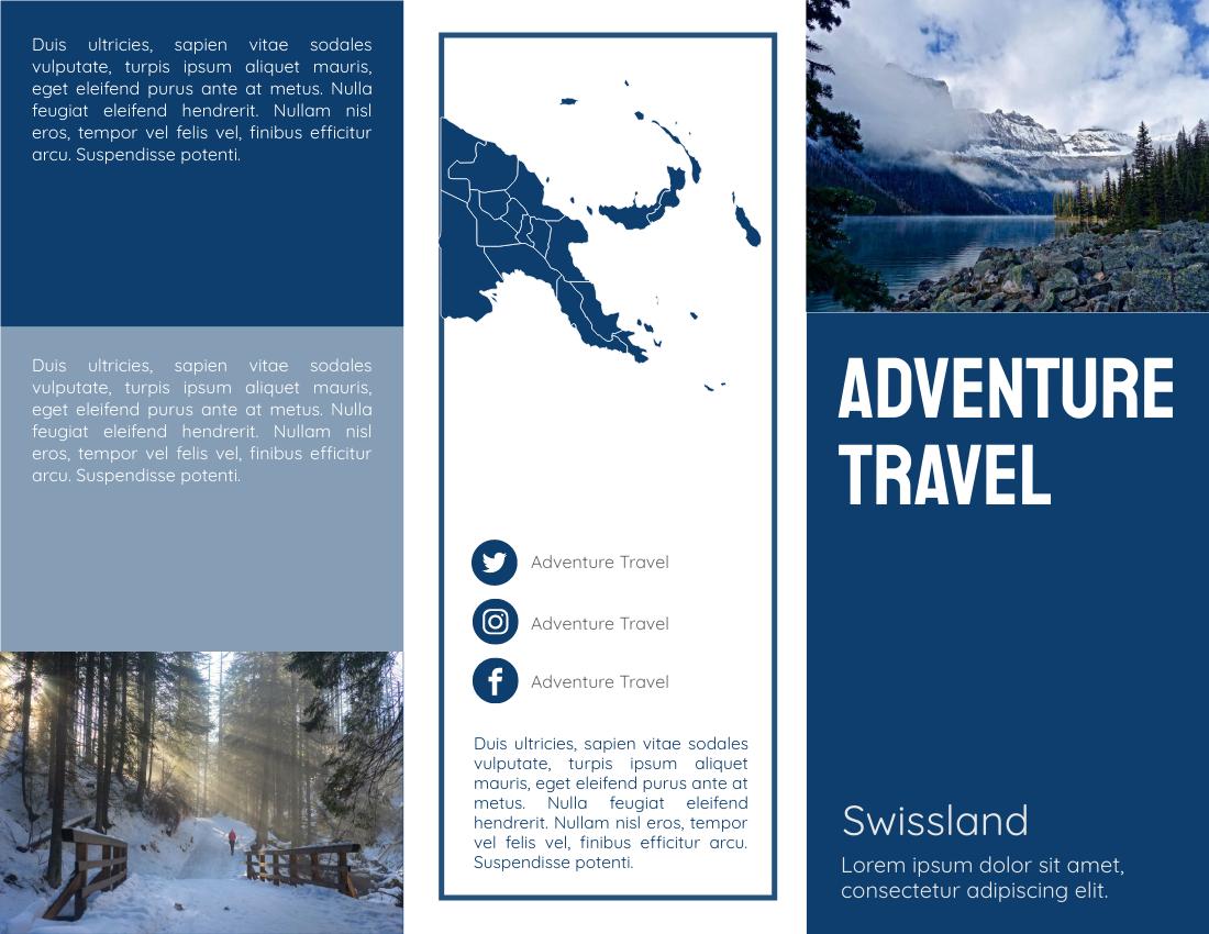 Brochure template: Adventure Travel To Swissland Brochure (Created by InfoART's Brochure maker)