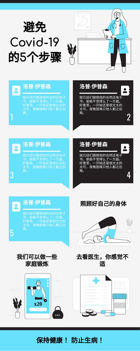 信息图表 template: 避免Covid 19信息图表的5个步骤 (Created by InfoART's 信息图表 maker)