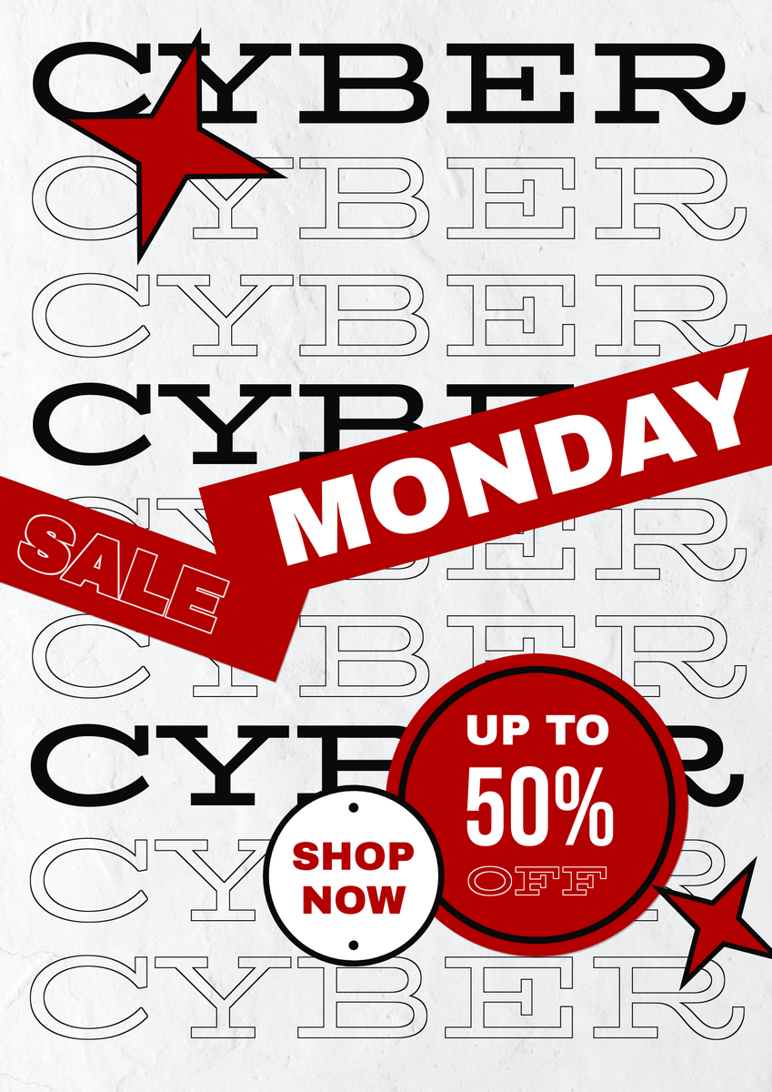 Poster template: Red And Black Trendy Paper Cyber Monday Poster (Created by InfoART's Poster maker)