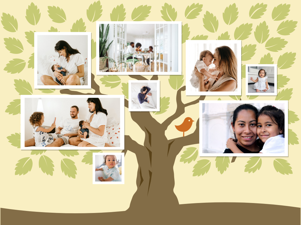 Family Tree template: Tree Leaves Family Tree Collage (Created by Collage's Family Tree maker)