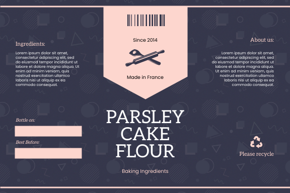 Label template: Cake Flour Package Label (Created by InfoART's Label maker)