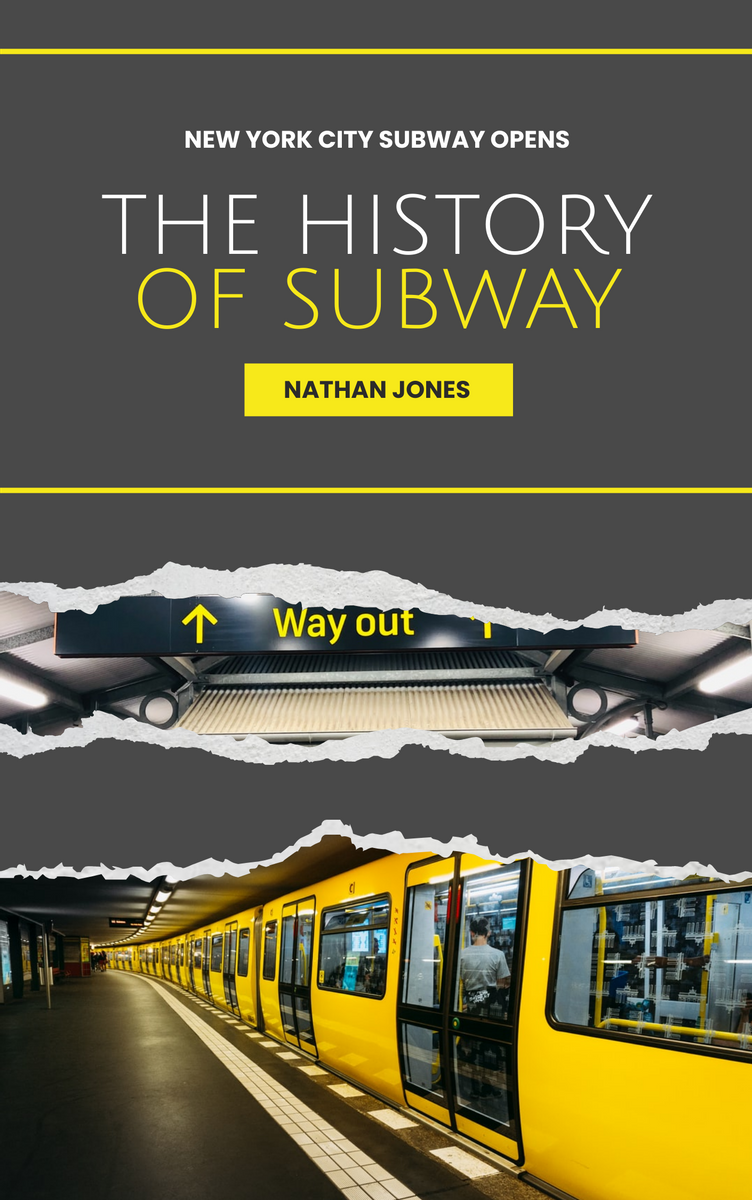 Book Cover template: The History Of Subway Book Cover (Created by InfoART's Book Cover maker)