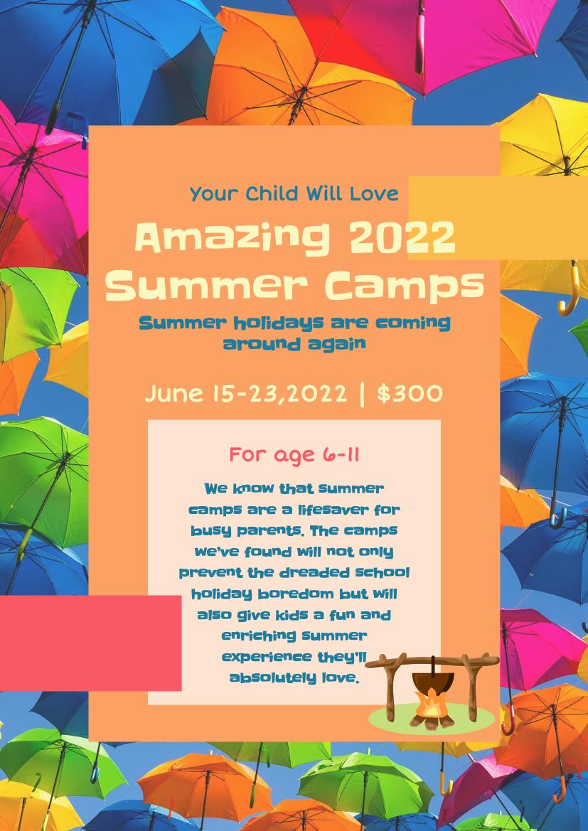 Flyer template: Children Summer Camping Flyer (Created by InfoART's Flyer maker)