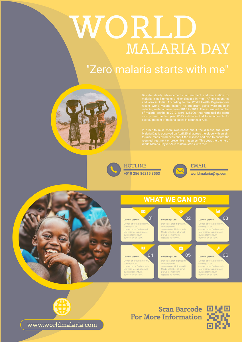 Poster template: Yellow World Malaria Day Poster (Created by InfoART's Poster maker)
