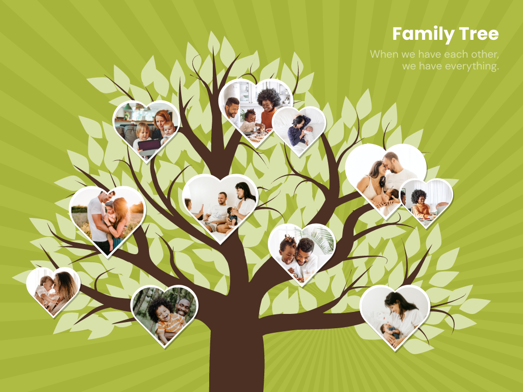 Family Tree template: Tree And Hearts Family Tree (Created by Collage's Family Tree maker)