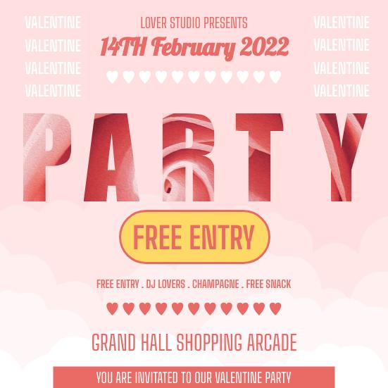 Invitation template: Valentine Rosy Party Invitation (Created by InfoART's Invitation maker)