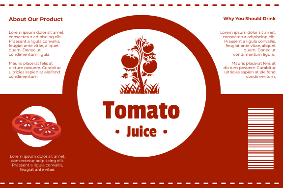 Label template: Tomato Juice Label (Created by InfoART's Label maker)