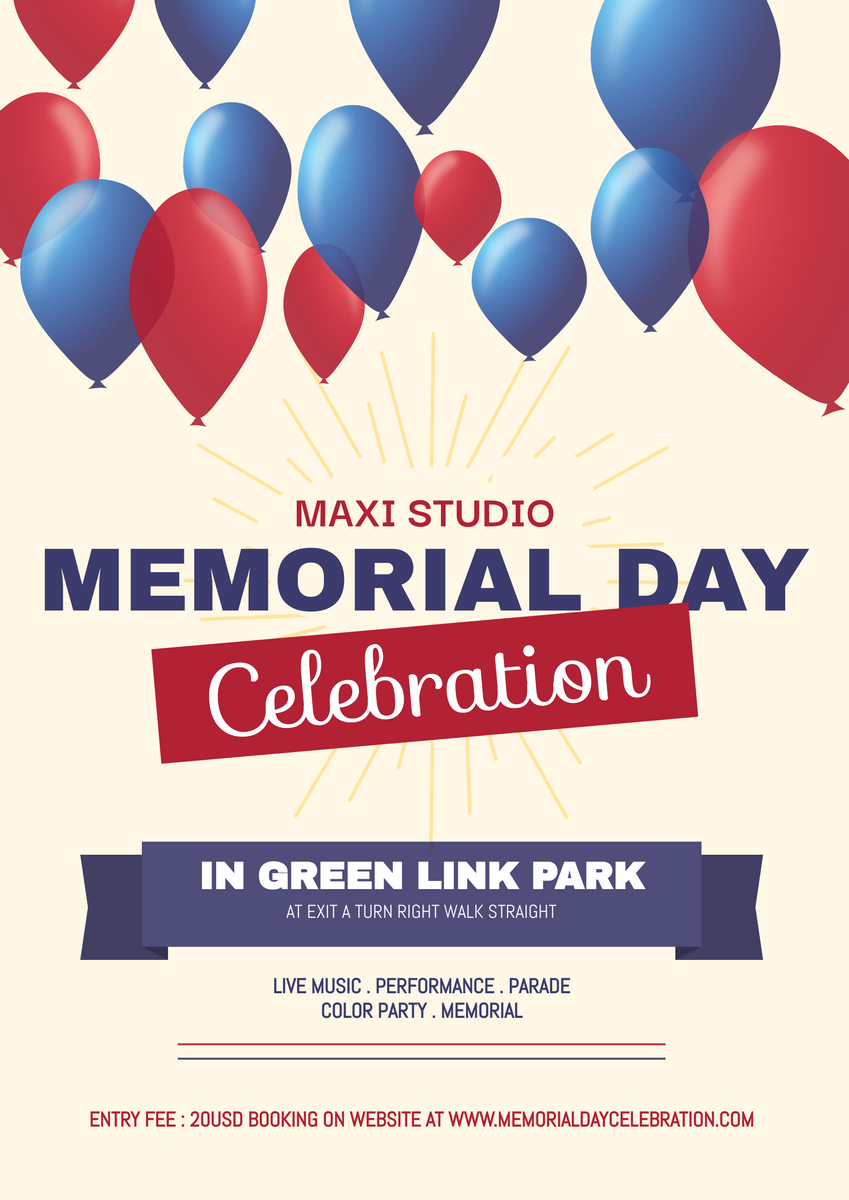 Poster template: Memorial Day Celebration With Balloon Poster (Created by InfoART's Poster maker)