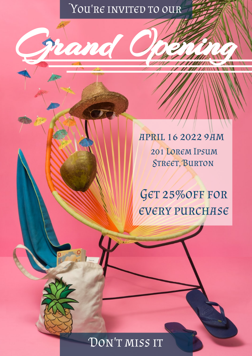 Flyer template: Grand Opening Flyer (Created by InfoART's Flyer maker)