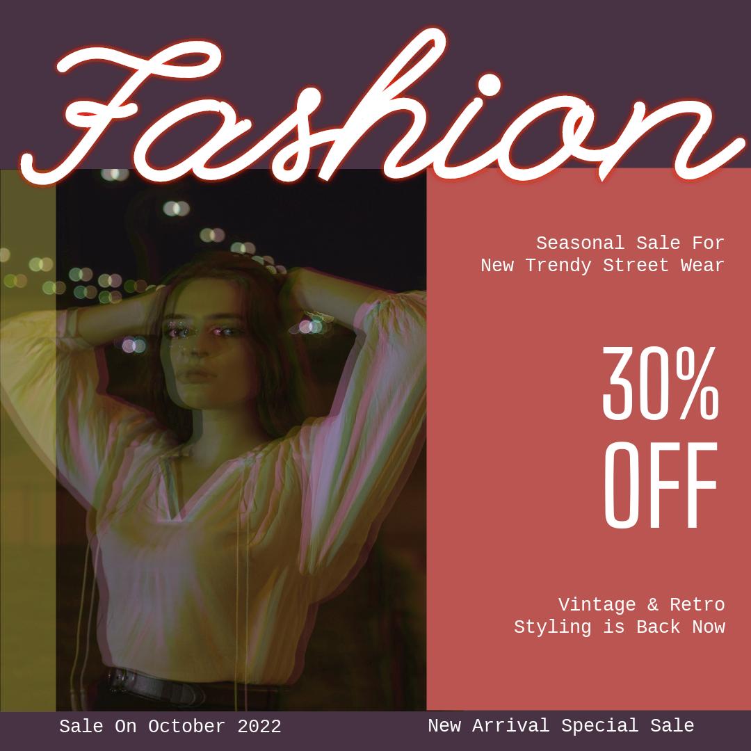 Instagram Post template: Neon Fashion Instagram Post (Created by InfoART's Instagram Post maker)