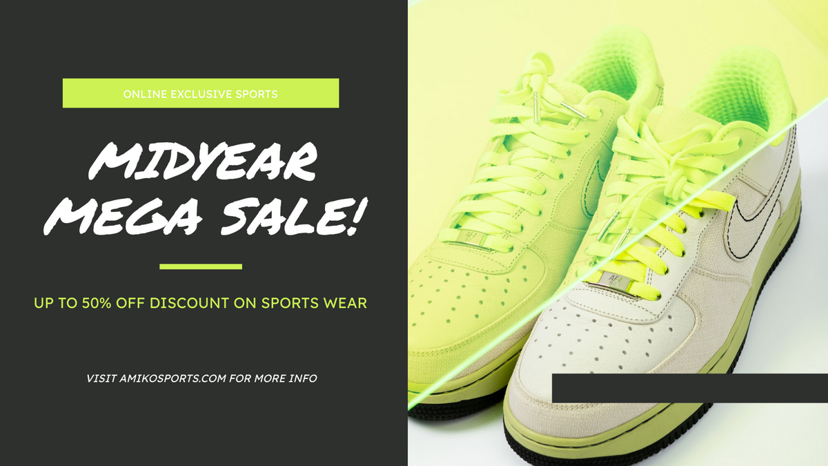 Twitter Post template: Yellow And Black Sneakers Photo Mega Sale Twitter Post (Created by InfoART's Twitter Post maker)
